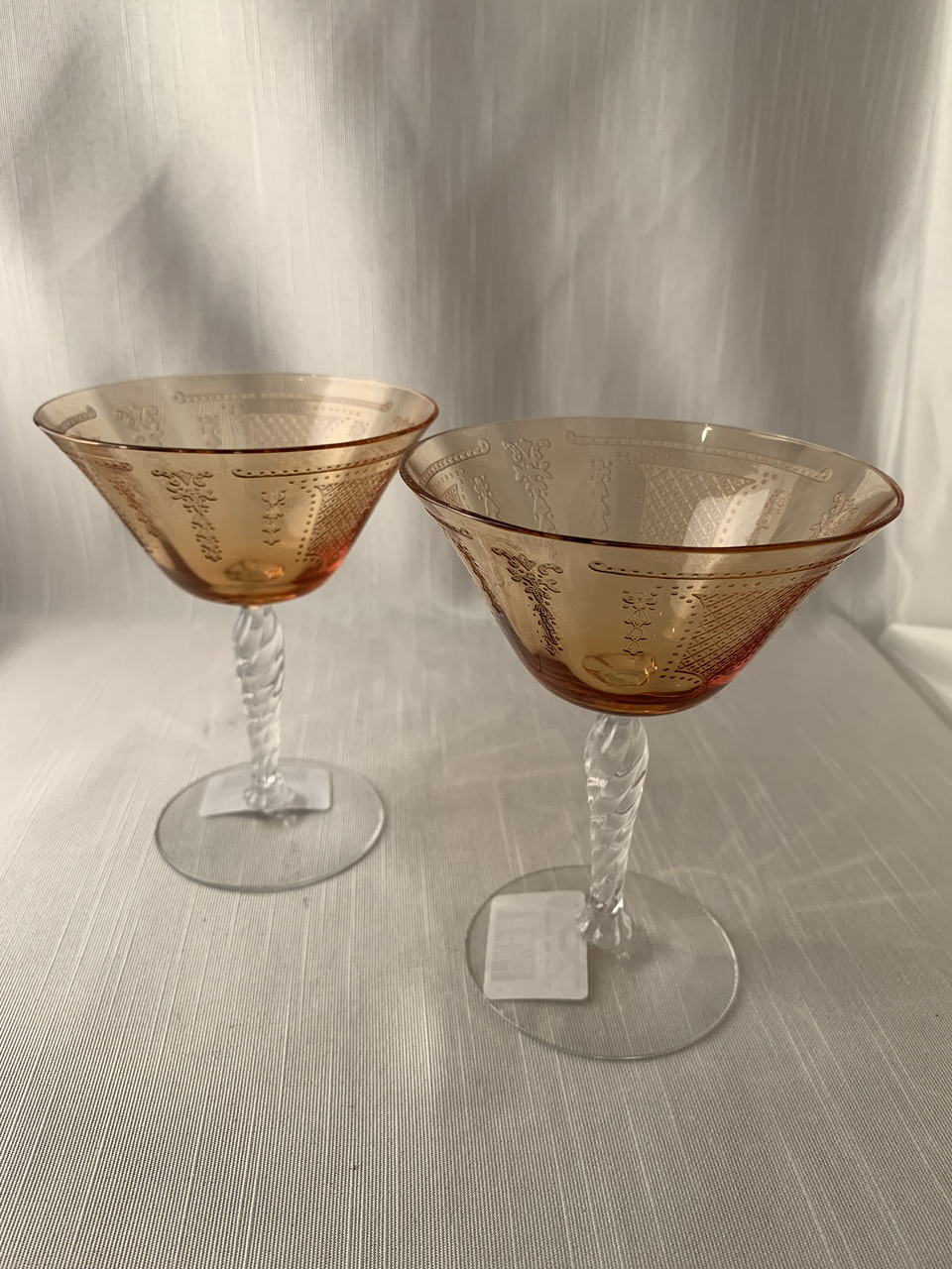 Set of 2 Amber Depression Era Flash Stemware Eloquent Dinner Party Gift Boho