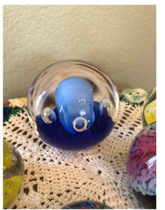 Blue Bubble Paper Weight Art Glass Perfect Gift Retro Mod Eames Era