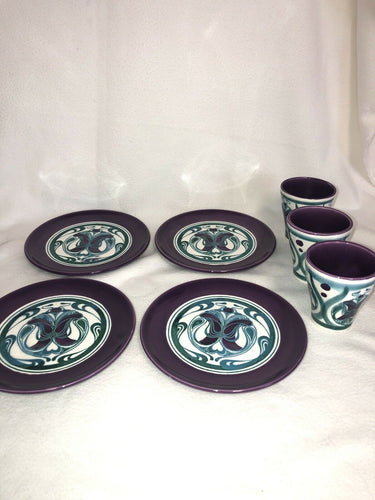 Rare Majolica Schramberg Ger. Violetta Cir 1915 Art Nouveau Mixed Lot 7 Pieces