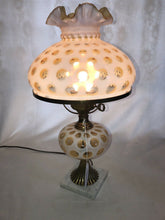 Load image into Gallery viewer, Impressive Fenton Art Glass French Opalescent Coin Dot Parlor Boudoir Lamp 20""