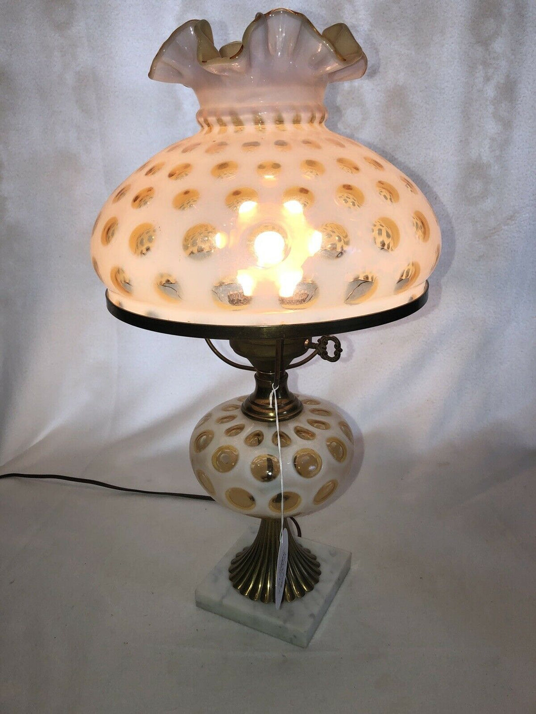 Impressive Fenton Art Glass French Opalescent Coin Dot Parlor Boudoir Lamp 20""
