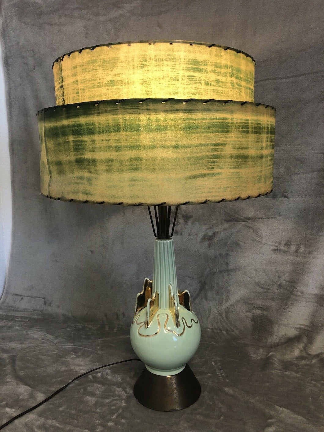 A Premium All Original 1950s Eames Era Atomic Table Lamp Parchment Shade Stunner