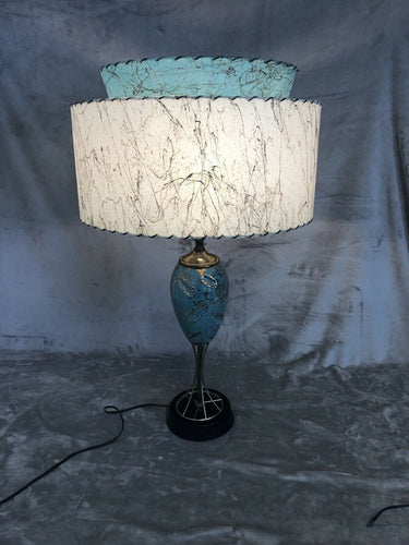 A Premium All Original 1950s Eames Era Atomic Table Lamp Parchment Shade Stunning
