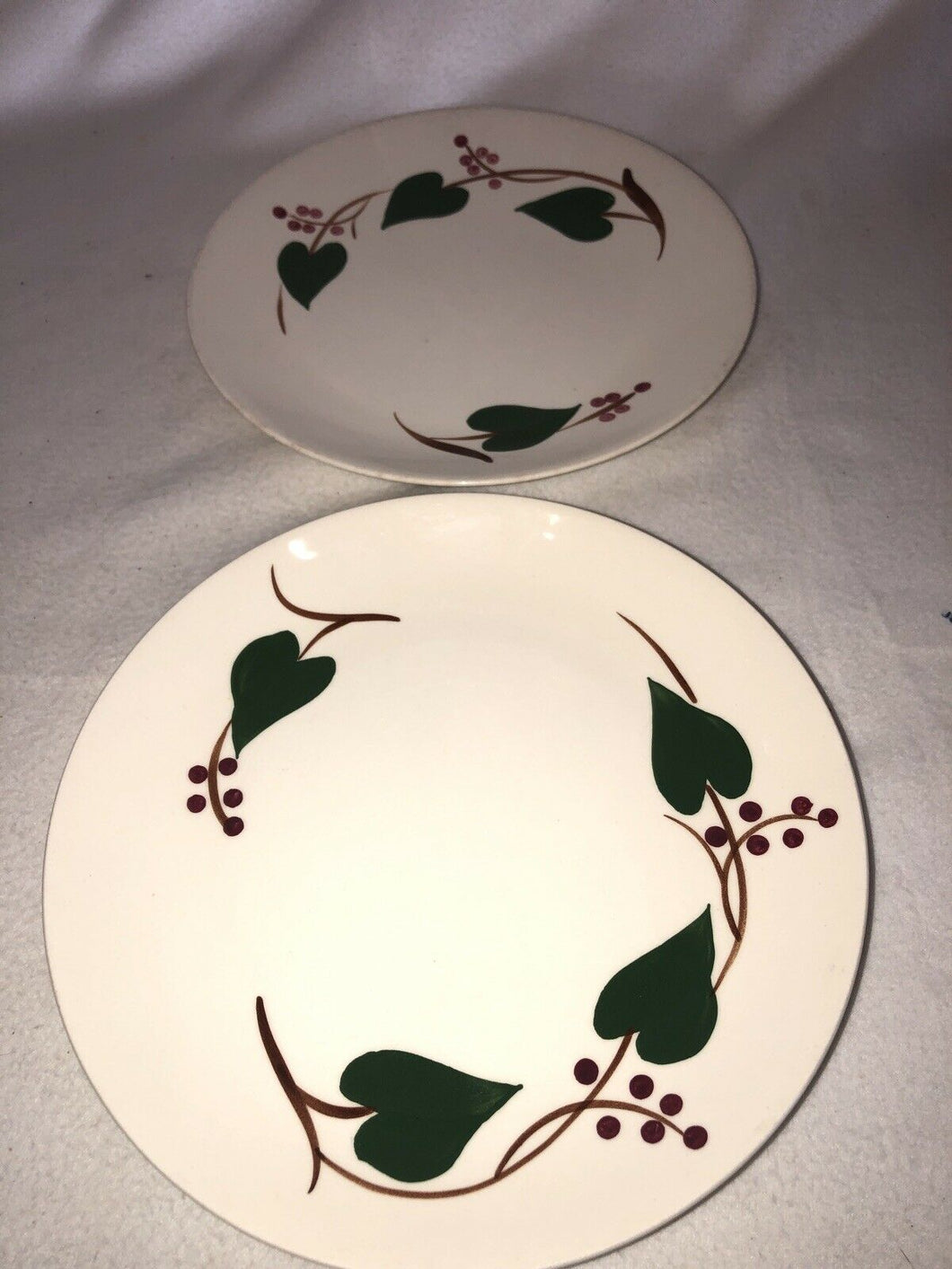 "2 Vintage Blue Ridge Southern Stanhome Ivy 9.5"" Dinner Plates"