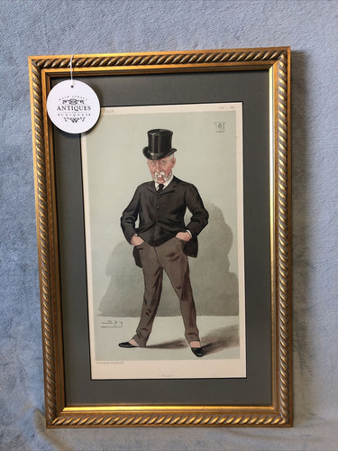 Antique Vanity Fair 1887 Statesmen #530 Framed Lithograph Sir Joseph Whitwell