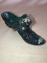 Load image into Gallery viewer, Fenton Blue Iridescent Carnival Cat's Head Slipper Hand Painted Artist Signed