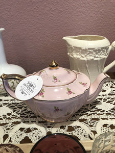 Antique Sadler Teapot Pink Rosebuds Perfect Made in England Pre 1927 Gift