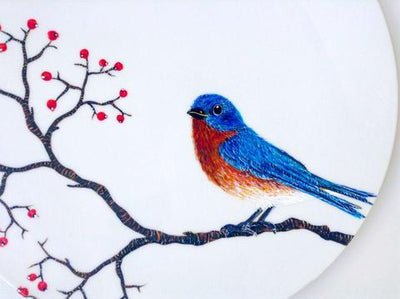 9-Step Photo Tutorial on Painting a Bluebird Platter