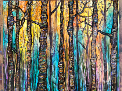 Blue Forest Original Painting: Ebay Auction 100% of sales goes to Charity: Water