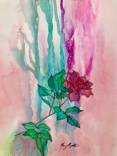 Pink Rose from my Mother's Garden Original Painting: Ebay Auction 100% of sales goes to Charity: Water