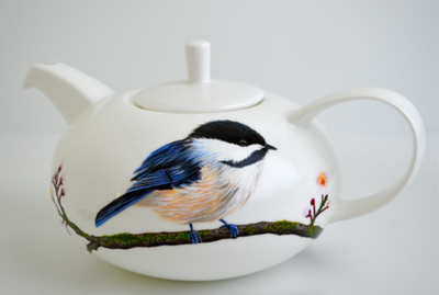 Painted Carolina Wren and Chickadee Teapots