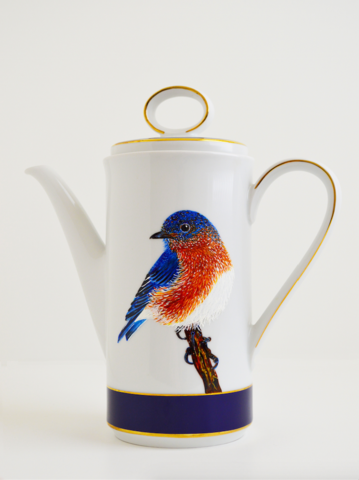 Painted Bluebird Coffee Pot