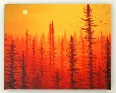 "How to Paint ""Forest at Dawn"" Painting in 5 Easy Steps"