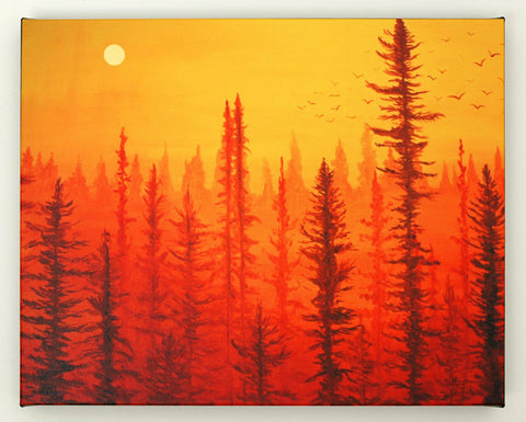 maryelizabetharts how to paint forest at dawn painting in 5
