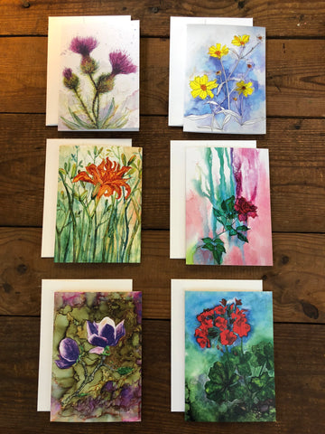 Box Set of 6 Greeting Cards: Floral Cards, Thistles, Daylily, Rose, Magnolia, Geranium, Blank Artist Cards, Mother's Day Cards