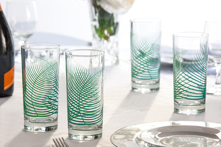 Green Fern Highball Glasses