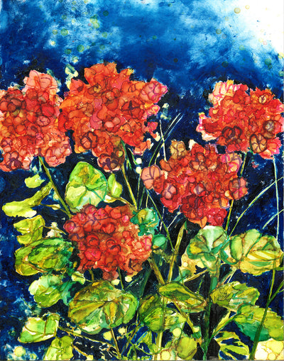 Red Geraniums : Greeting Card