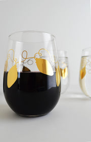 Metallic Gold Retro Christmas Lights Stemless Wine Glasses - Set of 2