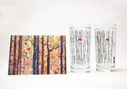 Tree Lover 3 Piece Anniversary Gift Set Collection : Highball Glasses and Art Greeting Card