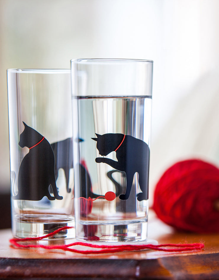 Cat and Yarn Glasses, Cat Lover Gift Set