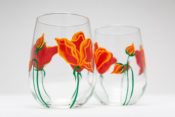 California Poppies Stemless Wine Glasses