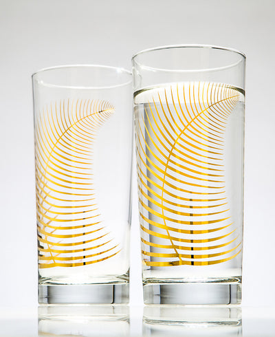 Metallic Gold Fern Festive Holiday Glasses