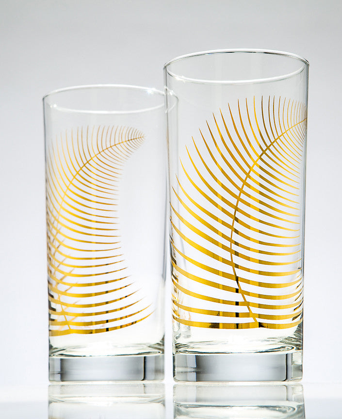 Metallic Gold Fern Glasses