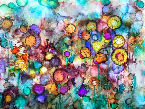 Field of Flowers: Alcohol Ink Painting