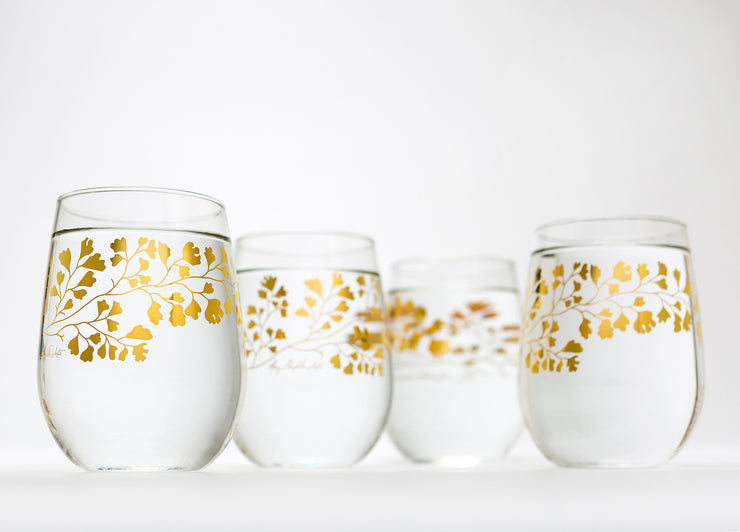 Gold Maidenhair Fern Glassware
