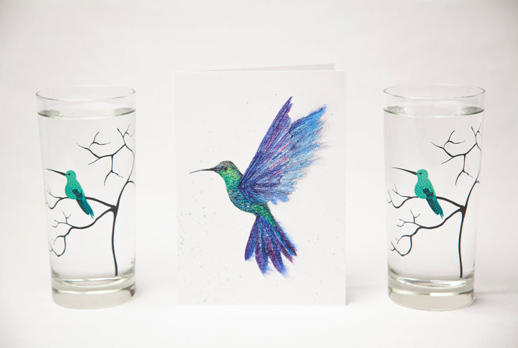 Hummingbird Gift Set : Highball Classes and Greeting Card