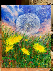 Dandelion Breeze - Original Mixed Media Encaustic Painting - 30 x 24 Inches