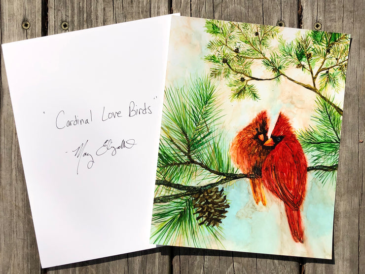 Cardinal Lovebirds : Red Bird Prints