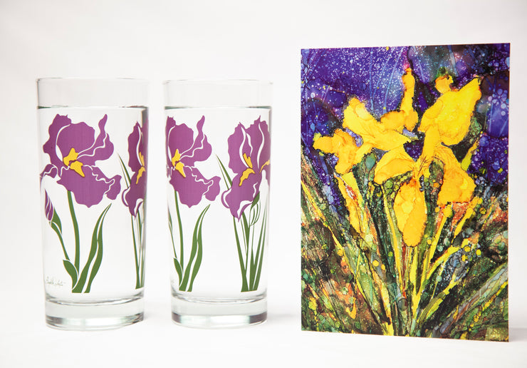 Iris Flower 3 Piece Floral Gift Set : Greeting Card and Glasses