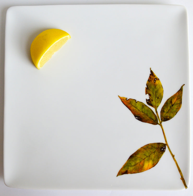 Green Fall Leaves Platter : Hand Painted Square Serving Platter