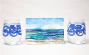 Beach Theme 3 piece Gift Set : Greeting Card and Stemless Wine Glasses