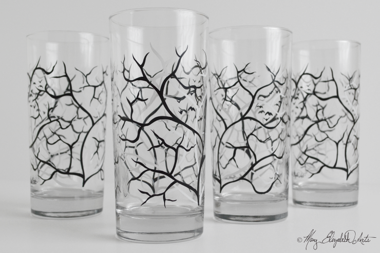 Black and White Trees Glasses
