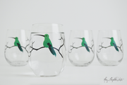 Hummingbird Stemless Wine Glasses