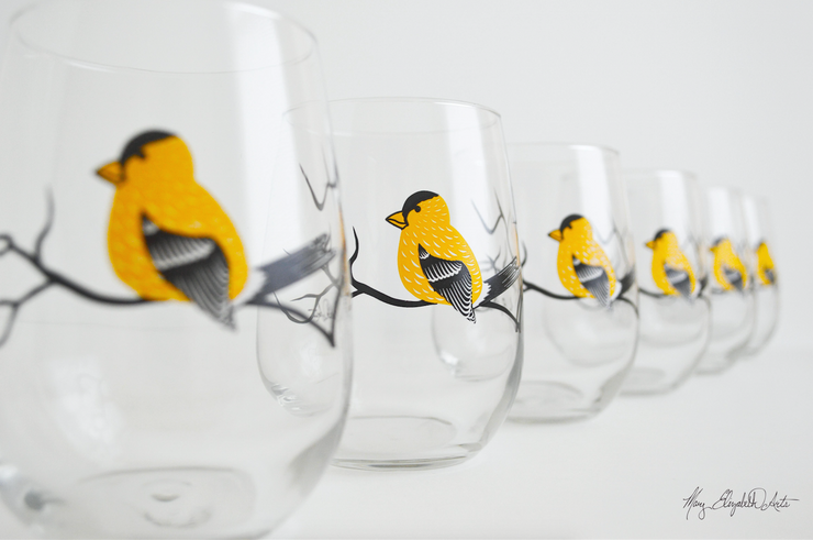 Golden Finch Stemless Wine Glasses
