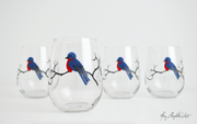 Bluebird Stemless Wine Glasses