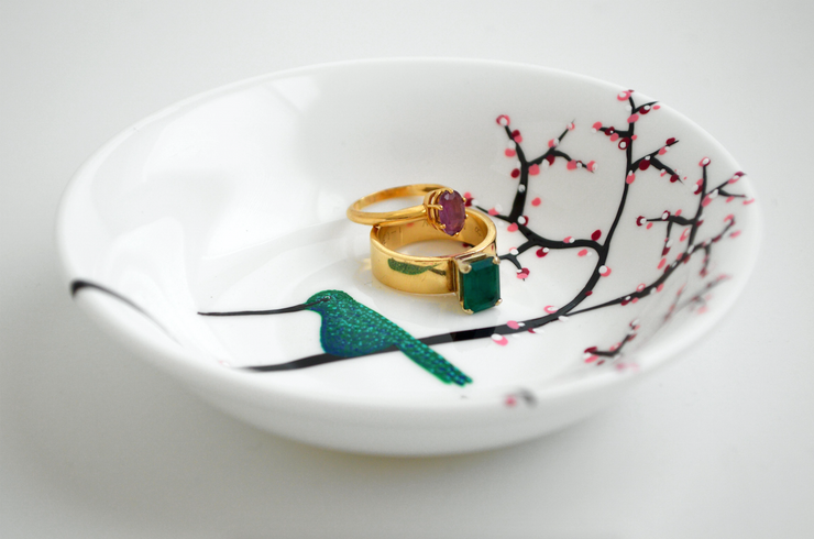 Hummingbird Personalized Ring Dish for Mom