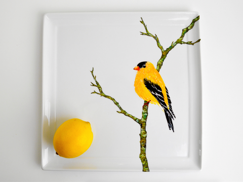 Golden Finch Serving Platter - Hand Painted Large Serving Platter