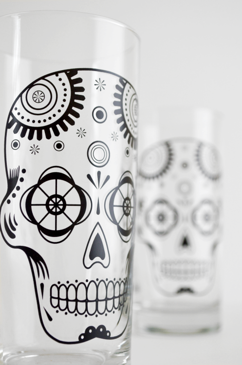 Sugar Skull Glassware - Set of 2 Halloween Glasses