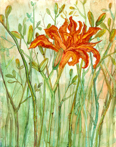 Orange Daylily : Greeting Card