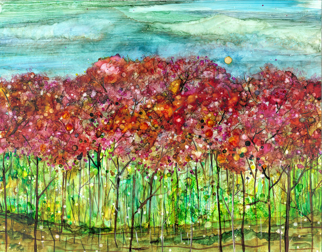 Spring Forest : Mixed Media Landscape Painting