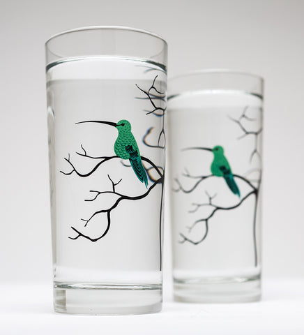 Hummingbird Glassware - Set of 2 Everyday Drinking Glasses