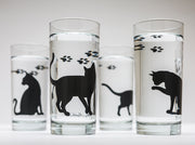 Cat and Paw Glasses : Set of 4