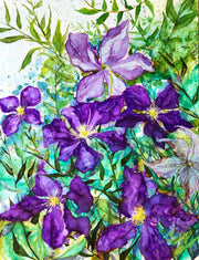 Purple Clematis : Original Painting