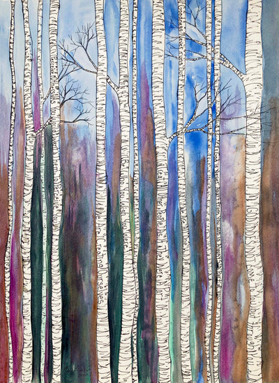 Watercolor Birch Trees : Prints