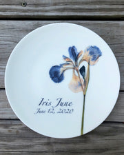 Pressed Iris Personalized Plates, Commemorative Plate, Baby's First Plate