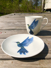 Hummingbird in Flight Porcelain Tea Cup